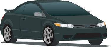 Black Civic Coupe. A Vector .eps illustration of a Black 2006 Honda Civic hatchback. Saved in layers for easy editing royalty free illustration