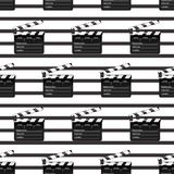Black clap open black object element for movie making vector illustration Flat. Pattern Symbol Icon on films for your Royalty Free Stock Images
