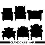 Black classic armchair set, in outlines, over white background Royalty Free Stock Photos