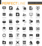 Black classic Business Essential icons set. Black classic Business Essential icons set isolated Stock Image