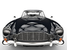 Black classic car - extreme front closeup Stock Photo