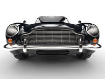 Black classic car - extreme front grille and headlight closeup Royalty Free Stock Image
