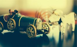 Black Classic Car Scale Model Beside With Dog Miniature Stock Photography