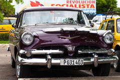 A black classic car on the street in havana cuba Stock Image