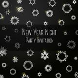 Black classic colored invitation on New Year Party. Black classic colored invitation for New Year Party, with snowflakes. With place for your text. Vector Royalty Free Stock Images