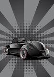 Black classic convertible. Retro styled illustration Royalty Free Stock Photo