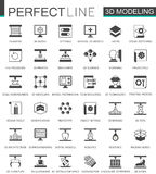 Black classic 3d modeling and printing web icons set. Black classic 3d modeling and printing web icons set Stock Image