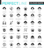 Black classic Data cloud technology web icons set. Global connection icon. Royalty Free Stock Photos