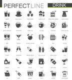 Black classic drinks web icons set. Stock Photography
