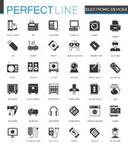 Black classic electronic devices icons set. Stock Image