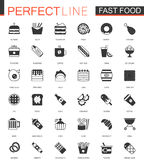 Black classic Fast Food web icons set. Stock Images