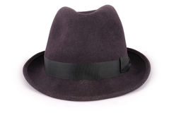Black classic fedora hat (Clipping path). Black classic fedora hat isolated on white closeup with clipping path royalty free stock images