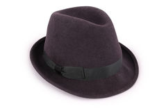 Black classic fedora hat Clipping path Stock Photo