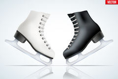Black classic figure ice skates. Set of Black and White classic ice figure skates with reflection. Sport equipment. Side view. Vector Illustration  on white Royalty Free Stock Image