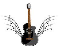 Black classic guitar Stock Photography