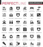 Black classic insurance icons set isolated. For web Stock Images