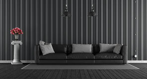 Black classic living room Royalty Free Stock Photography