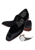 Black classic male shoes and watch Stock Photo
