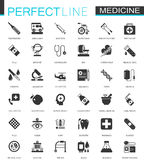 Black classic Medical and healthcare web icons set. Black classic Medical and healthcare web icons set isolated Royalty Free Stock Photos