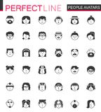Black classic Men and Women characters avatars icons set. People avatar for web, profile page or social network. Royalty Free Stock Image