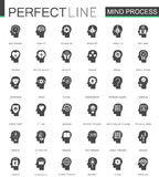 Black classic mind process features web icons set. Thinking, emotions and psychology skills. Black classic mind process features web icons set. Thinking Stock Image