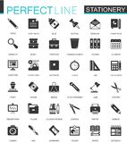 Black Classic Office Stationery Icons Set For Web Stock Photo