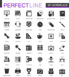 Black classic office workspace web icons set. Stock Image