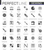 Black classic sewing needlework web icons set. Black classic sewing needlework web icons set Stock Photography