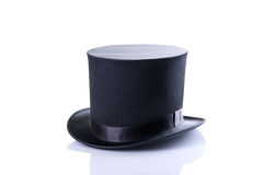 Black classic top hat. Isolated on white background Royalty Free Stock Photos