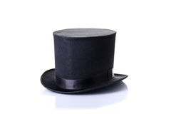 Black classic top hat, isolated on white background. With soft reflection Stock Images