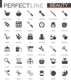 Black classic web icons set. Beauty and cosmetics. Body skin care. Stock Photo