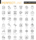 Black classic web Law and justice icons set. Royalty Free Stock Photo