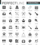 Black classic web Wedding marriage icons set. Royalty Free Stock Image