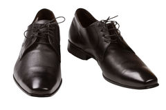 Black classical man's shoes. Isolated on a white background Stock Image