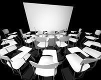 Black classroom. Empty black classroom with white school chairs stock images