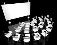 Black classroom 2. Empty black classroom with white classroom chairs Royalty Free Stock Image