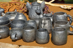 Black clay pottery in fair Royalty Free Stock Photography