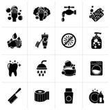 Black Cleaning and hygiene icons. Vector icon set stock illustration