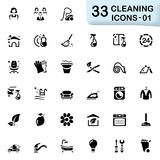 33 black cleaning icons 01. This set contains 33 vector icons that can be used for designing and developing websites, apps, as well as printed materials and Royalty Free Stock Photography