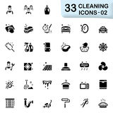 33 black cleaning icons 02. This set contains 33 vector icons that can be used for designing and developing websites, apps, as well as printed materials and Stock Photography