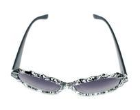 Black and clear splash paint splatter pattern sunglasses. Black and clear sunglasses isolated on white Stock Photo