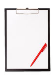 Black clip board with blank paper and pen Royalty Free Stock Photo