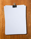 Black clip and White blank note paper stock image