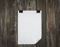 Black clip and White  paper hang Royalty Free Stock Photos