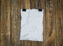 Black clip and White paper hang Stock Image