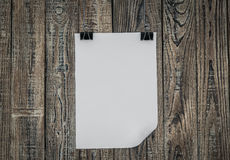 Black clip and White paper hang Royalty Free Stock Photography