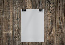Black clip and White paper hang Royalty Free Stock Image