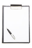 Black clipboard with blank paper sheet and pen isolated on white royalty free stock photo