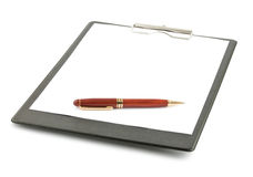 Black clipboard and pen Stock Photo