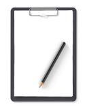 Black clipboard with pencil and blank sheets of paper Stock Image